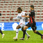 Renato SANCHES of Lille and Pierre Less MELOU of Nice during the Ligue 1 match between OGC Nice and Lille OSC at Allianz RivieraPhoto of Nice vs Lille