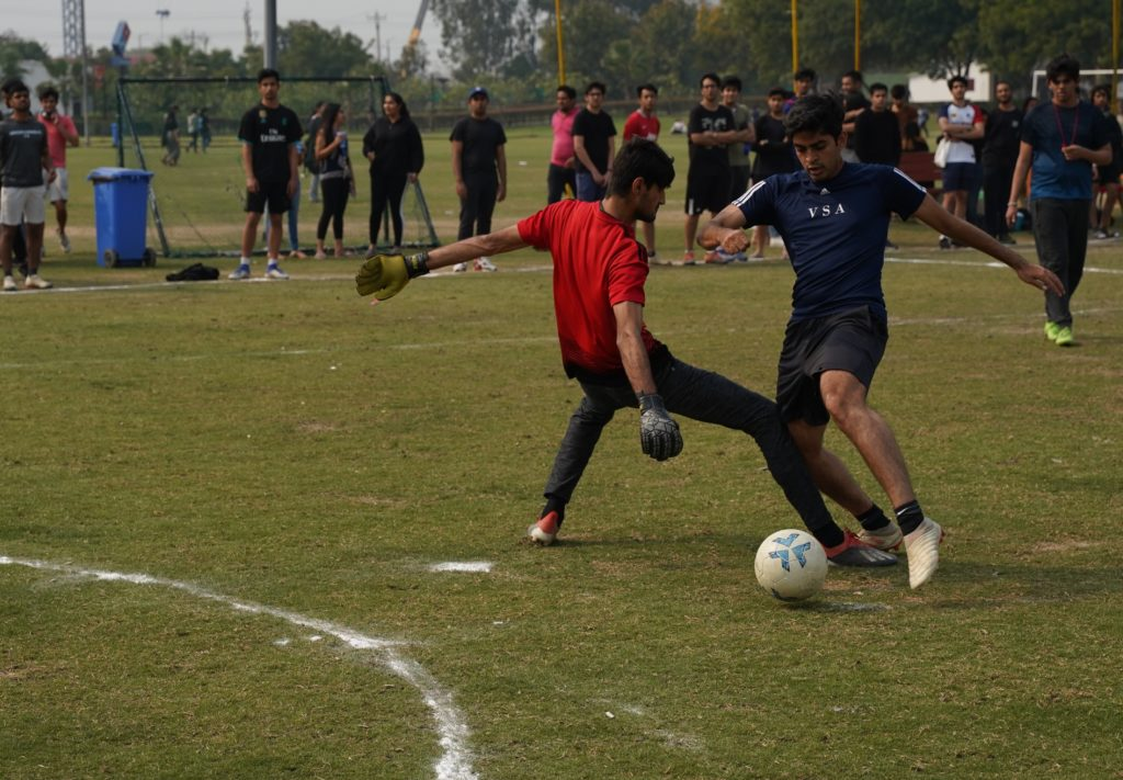 Photo of a player dribbling