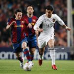 Photo of Cristiano Ronaldo (R) of Manchester United holds off the challenge of Lionel Messi (L) of Barcelona during the UEFA Champions League Semi-Final