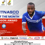 Gladson Awako scoops NASCO Player of the Month for December